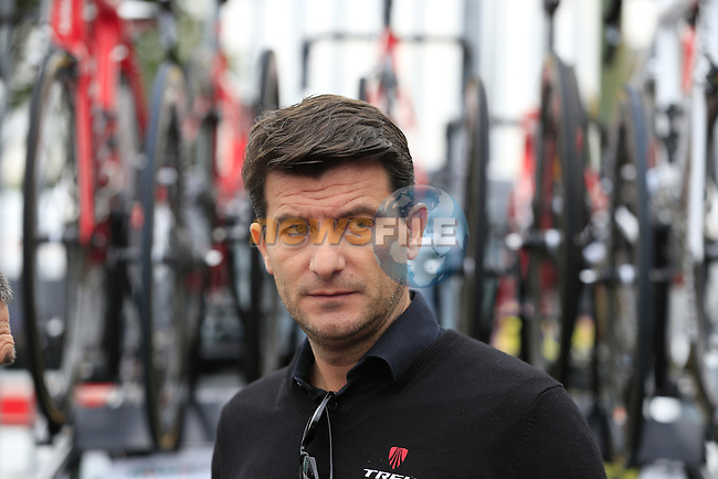 Luca Guercilena General Manager Trek Factory Racing team  outside the team bus before the start of the 2015 96th Milan-Turin 186km race starting at San Giuliano Milanese, Italy. 1st October 2015.<br /> Picture: Eoin Clarke | Newsfile