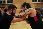 BERLIN 12.2016. GWF (German Wrestling Federation) during training. Left: unknown wrestler, right: Orlando Silver<br /> <br /> STORY: German Wrestler RAMBO MICHEL BRAUN alias EL COMANDANTE RAMBO during training at GWF Wrestling School in Berlin Neukölln.<br /><br />Other trainers are: Crazy Sexy mike (Hussein Chaer, man with headband) and Ahmed Chaer (man with beard) (Photo by Gregor Zielke)