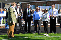 Connections of Dark Optimist in the Winners Enclosure after winning The George Smith Horseboxes British EBF Maiden Stakes   during Evening Racing at Salisbury Racecourse on 25th May 2019