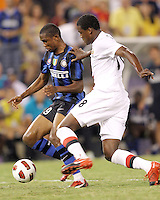 Samuel Eto'o #9 of Inter Milan moves past Dedryk Boyata #38 of Manchester City during an international friendly match on July 31 2010 at M&T Bank Stadium in Baltimore, Maryland. Milan won 3-0.