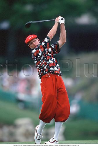 PAYNE STEWART drives, Bay Hill Invitational Golf Tournament, Orlando, Florida, 970323. Photo: Glyn Kirk/Action Plus...1997.plus fours.golfer golfers