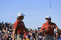 Tommy Fleetwood and Francesco Molinari (Team Europe) on the 12th green during Saturday's Foursomes Matches at the 2018 Ryder Cup 2018, Le Golf National, Ile-de-France, France. 29/09/2018.<br /> Picture Eoin Clarke / Golffile.ie<br /> <br /> All photo usage must carry mandatory copyright credit (© Golffile | Eoin Clarke)