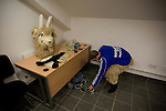 The home team's mascot making preparations to entertain the crowd at the Gateshead International Stadium, the athletics stadium which is also the home ground of Gateshead FC, on the day the club played host to Cambridge United in a Blue Square Bet Premier division fixture. The match ended in a one-all draw, watched by a crowd of 904. The point meant Gateshead went to the top of the division, one below the Football League in England.