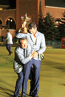 Winning European Team Players Martin Kaymer (GER) and Graeme McDowell (NIR) after Sunday's Singles Matches of the 39th Ryder Cup at Medinah Country Club, Chicago, Illinois 30th September 2012 (Photo Colum Watts/www.golffile.ie)