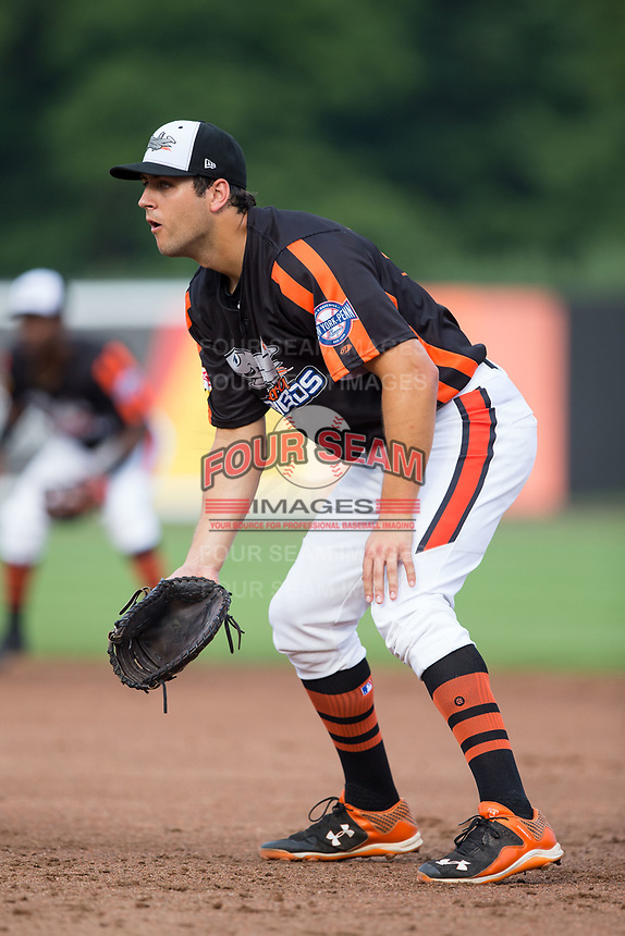 Aberdeen IronBirds first baseman Ryan Ripken (58) on defense against the Hudson Valley Renegades at Leidos Field at Ripken Stadium on July 27, 2017 in Aberdeen, Maryland.  The Renegades defeated the IronBirds 2-0 in game one of a double-header.  (Brian Westerholt/Four Seam Images)