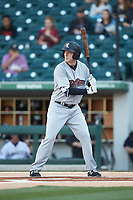 Cody Asche (12) of the Scranton/Wilkes-Barre RailRiders at bat against the Charlotte Knights at BB&T BallPark on April 12, 2018 in Charlotte, North Carolina.  The RailRiders defeated the Knights 11-1.  (Brian Westerholt/Four Seam Images)