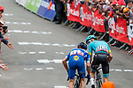 Sprint to victory with Julian Alaphilippe (FRA) of Deceuninck - Quick Step (BEL) and Jakob Fuglsang (DEN) Astana Pro Team climb for the finish line during the 2019 La Fl&egrave;che Wallonne with 195 km racing from Ans to Mur de Huy, Belgium. 24th April 2019. Picture: Pim Nijland | Peloton Photos/Cyclefile<br /> <br /> All photos usage must carry mandatory copyright credit (Peloton Photos/Cyclefile | Pim Nijland)