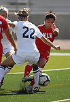 UNLV Rebels' Katherine Orellana fights for the ball against Nevada's Lauren Braman during a soccer game in Reno, Nev., on Sunday, Sept. 3, 2011..Photo by Cathleen Allison