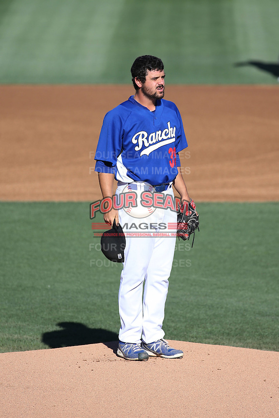A.J. Vanegas (38) of the Rancho Cucamonga Quakes before pitching in a game against the San Jose Giants at LoanMart Field on August 30, 2015 in Rancho Cucamonga, California. Rancho Cucamonga defeated San Jose, 8-3. (Larry Goren/Four Seam Images)