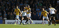 Port Vale's Rigino Cicilia holds off the challenge from Bolton Wanderers' Jay Spearing<br /> <br /> Photographer Stephen White/CameraSport<br /> <br /> The EFL Sky Bet League One - Port Vale v Bolton Wanderers  - Saturday 22nd April 2017 - Vale Park - Burslem<br /> <br /> World Copyright &copy; 2017 CameraSport. All rights reserved. 43 Linden Ave. Countesthorpe. Leicester. England. LE8 5PG - Tel: +44 (0) 116 277 4147 - admin@camerasport.com - www.camerasport.com