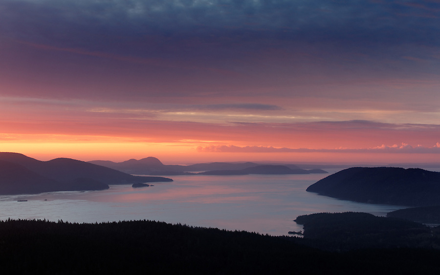 View of Samish Bay and Rosario Strait at sunrise from Mount Constitution in Moran State Park on Orcas Island, San Juan Islands, San Juan County, Washington State, USA