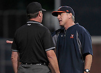 Virginia head coach Brian O'Connor argues with the referee during the game against Arkansas Saturday night at Davenport Field in Charlottesville, VA. Photo/The Daily Progress/Andrew Shurtleff