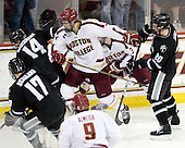 Matt Bergland (PC - 17), Ross Mauermann (PC - 14), Isaac MacLeod (BC - 7), Patch Alber (BC - 3), Shane Luke (PC - 20) - The Boston College Eagles defeated the Providence College Friars 7-0 on Saturday, February 25, 2012, at Kelley Rink at Conte Forum in Chestnut Hill, Massachusetts.