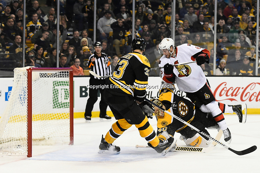 January 3, 2015 - Boston, Massachusetts, U.S. - Ottawa Senators right wing Bobby Ryan (6) watches his shot slip into the net during the NHL game between the Ottawa Senators and the Boston Bruins held at TD Garden in Boston Massachusetts. Ottawa defeated Boston in overtime 3-2. Eric Canha/CSM