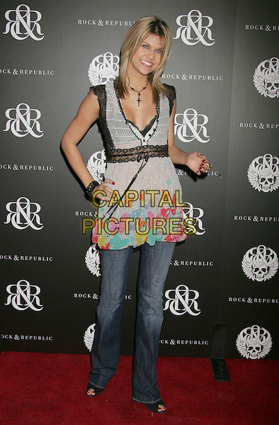 ERICA SHAFFER.Rock & Republic Hosts Spring Collection Fete for LA Fashion Week at Area, Beverly Hills, California, USA..October 18th, 2006.Ref: ADM/RE.full length jeans denim grey gray top print.www.capitalpictures.com.sales@capitalpictures.com.©Russ Elliot/AdMedia/Capital Pictures.