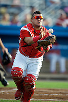 Batavia Muckdogs catcher Jesus Montero #55 during a game against the Staten Island Yankees at Dwyer Stadium on July 28, 2012 in Batavia, New York.  Batavia defeated Staten Island 2-1.  (Mike Janes/Four Seam Images)