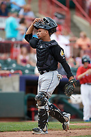 Akron RubberDucks catcher Francisco Mejia (17) during a game against the Erie SeaWolves on August 27, 2017 at UPMC Park in Erie, Pennsylvania.  Akron defeated Erie 6-4.  (Mike Janes/Four Seam Images)