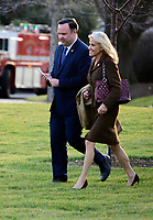 White House Director of Social Media Dan Scavino, left, and Senior Counselor Kellyanne Conway, right, follow United States President Donald J. Trump to Marine One as he departs the White House in Washington,DC en route to Toledo, Ohio to deliver remarks at a Keep America Great Rally on Thursday, January 9, 2020. <br /> Credit: Ron Sachs / CNP/AdMedia