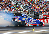 Aug 19, 2016; Brainerd, MN, USA; NHRA funny car driver Robert Hight during qualifying for the Lucas Oil Nationals at Brainerd International Raceway. Mandatory Credit: Mark J. Rebilas-USA TODAY Sports