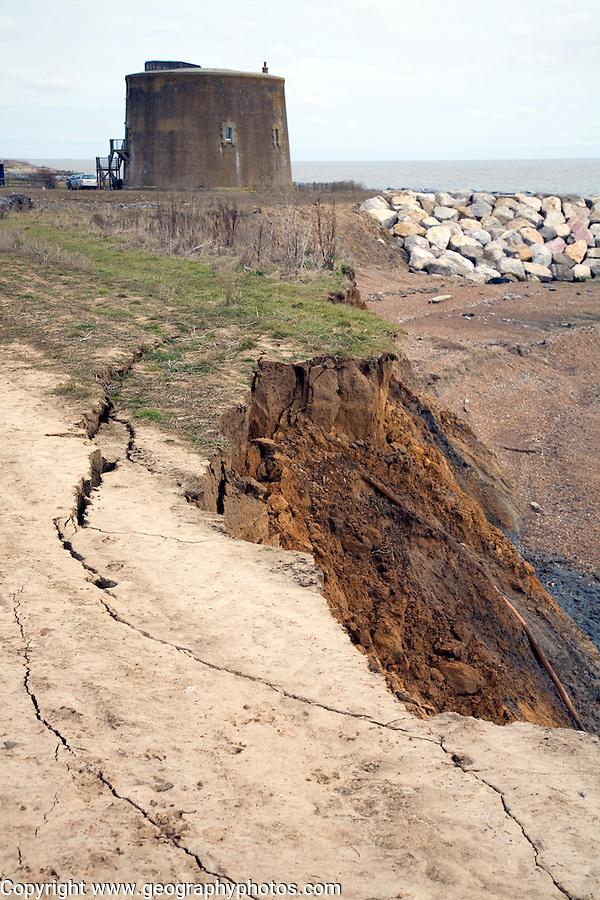 Coastal erosion martello tower at risk, East Lane, Bawdsey, Suffolk