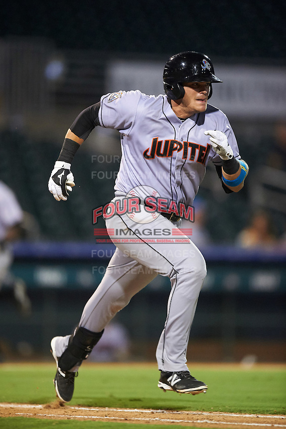 Jupiter Hammerheads first baseman Taylor Ard (30) runs to first during a game against the Palm Beach Cardinals on August 12, 2016 at Roger Dean Stadium in Jupiter, Florida.  Jupiter defeated Palm Beach 9-0.  (Mike Janes/Four Seam Images)