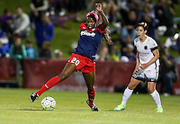 Boyds, MD - Saturday May 07, 2016: Washington Spirit forward Cheyna Williams (20) controls the ball in front of Portland Thorns FC defender Meghan Klingenberg (25) during a regular season National Women's Soccer League (NWSL) match at Maureen Hendricks Field, Maryland SoccerPlex. Washington Spirit tied the Portland Thorns 0-0.