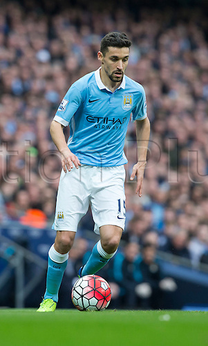 20.03.2016. Etihad Stadium, Manchester, England. Barclays Premier League. Manchester City versus Manchester United.  Manchester City midfielder Jesus Navas on the ball.