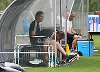 (Assistenz)Trainer Marcus Sorg (Deutschland Germany) und Torwarttrainer Andreas Koepke (Deutschland Germany) haben Spaß vor dem Training - 03.06.2019: Trainingslager der Deutschen Nationalmannschaft zur EM-Qualifikation in Venlo/NL