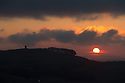 31/03/16<br /> <br /> After overnight temperatures fall below zero on the last March night, the sun rises slowly to warm the landscape surrounding Solomon's Temple (also known as Grinlow Tower) high above Buxton in the Derbyshire Peak District.<br /> <br /> All Rights Reserved: F Stop Press Ltd. +44(0)1335 418365   www.fstoppress.com.