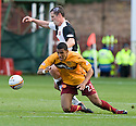 23/10/2010   Copyright  Pic : James Stewart.sct_jsp006_motherwell_v_dundee  .::  NICK BLACKMAN IS BUNDLED OVER BY SCOTT SEVERIN  ::.James Stewart Photography 19 Carronlea Drive, Falkirk. FK2 8DN      Vat Reg No. 607 6932 25.Telephone      : +44 (0)1324 570291 .Mobile              : +44 (0)7721 416997.E-mail  :  jim@jspa.co.uk.If you require further information then contact Jim Stewart on any of the numbers above.........