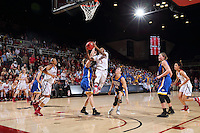 STANFORD, CA - March 21, 2016: Stanford Cardinal defeats the South Dakota State Jackrabbits 66-65 in a second round NCAA tournament game at Maples Pavilion. Lili Thompson makes a layup in the final 8 seconds to tie the game 65-65 and is fouled. Thompson makes the free throw to win the game.