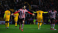 Lincoln City's Tom Pett celebrates scoring his side's second goal<br /> <br /> Photographer Chris Vaughan/CameraSport<br /> <br /> Emirates FA Cup First Round - Lincoln City v Northampton Town - Saturday 10th November 2018 - Sincil Bank - Lincoln<br />  <br /> World Copyright © 2018 CameraSport. All rights reserved. 43 Linden Ave. Countesthorpe. Leicester. England. LE8 5PG - Tel: +44 (0) 116 277 4147 - admin@camerasport.com - www.camerasport.com