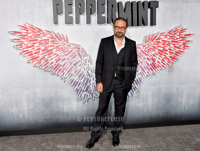 """LOS ANGELES, CA. August 28, 2018: Pierre Morel at the world premiere of """"Peppermint"""" at the Regal LA Live."""