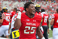 College Park, MD - September 22, 2018: Maryland Terrapins defensive back Antoine Brooks Jr. (25) celebrates during the game between Minnesota and Maryland at  Capital One Field at Maryland Stadium in College Park, MD.  (Photo by Elliott Brown/Media Images International)