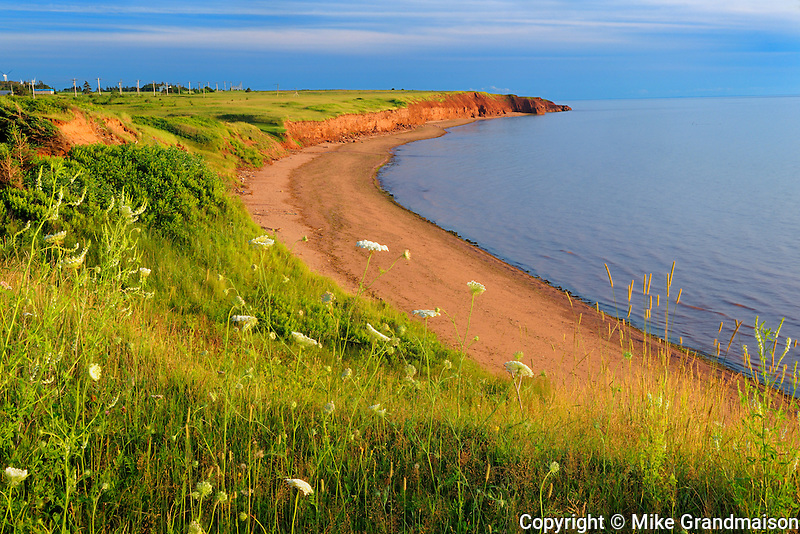 Shoreline along the Gulf of St. Lawrence  at sunset