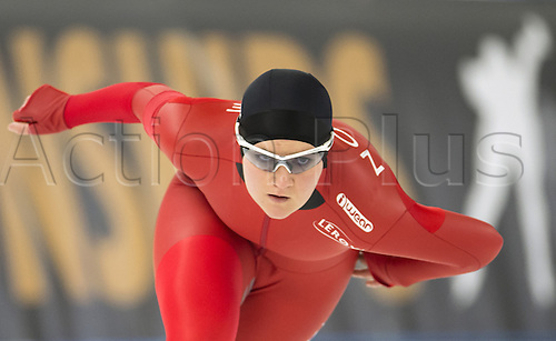 05.03.2016. Berlin, Germany. Sofie-Karoline Haugen of Norway in her 500 metre race against Graf of Russia, at the ISU World Allround Speed Skating Championships in Berlin.