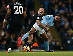 Pablo Zabaleta of West Ham United holds Raheem Sterling of Manchester City during the premier league match at the Etihad Stadium, Manchester. Picture date 3rd December 2017. Picture credit should read: Andrew Yates/Sportimage