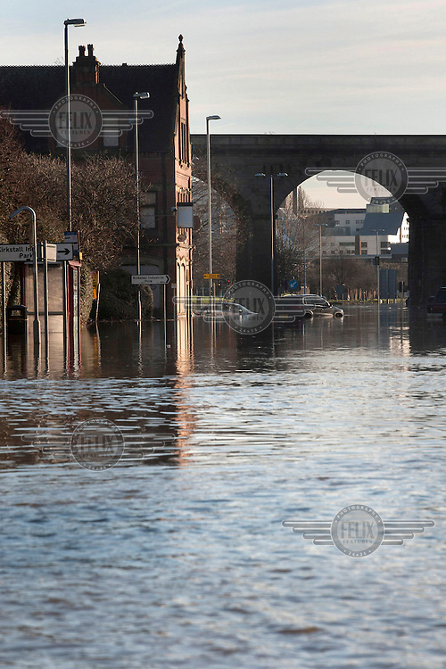 Kirkstall Road, one of the main approach roads to the city centre is flooded after heavy rains over the Chirstmas holiday weekend.