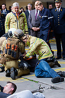 King Philippe of Belgium & Crown Princess Elisabeth at the fire fighter center in Brussels - Belgium