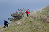 Rikard Karlberg digs his ball out of the heavy rough on the hillside of the 15th during the second day at the Betfred British Masters, Hillside Golf Club, Lancashire, England. 10/05/2019.<br /> Picture David Kissman / Golffile.ie<br /> <br /> All photo usage must carry mandatory copyright credit (&copy; Golffile | David Kissman)