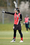 GER - Mainz, Germany, March 20: During the 1. Bundesliga Damen lacrosse match between Mainz Musketeers (white) and SC Frankfurt 1880 (red) on March 20, 2016 at Sportgelaende Dalheimer Weg in Mainz, Germany. Final score 7-12 (HT 3-5). (Photo by Dirk Markgraf / www.265-images.com) *** Local caption *** Elisabeth Lippert #2 of SC Frankfurt 1880