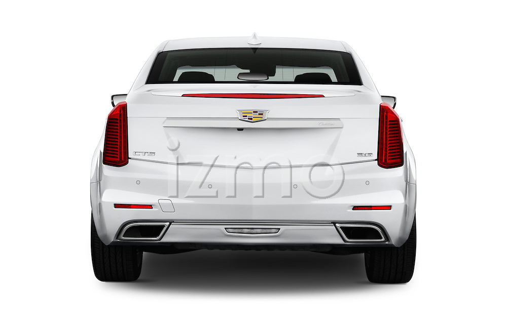 Straight rear view of 2016 Cadillac CTS Luxury Collection 4 Door sedan Rear View  stock images