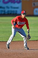 Franklin Torres (6) of the Orem Owlz on defense against the Ogden Raptors in Pioneer League action at Lindquist Field on June 27, 2016 in Ogden, Utah. Orem defeated Ogden 4-3. (Stephen Smith/Four Seam Images)