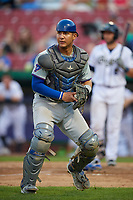 South Bend Cubs catcher Miguel Amaya (9) tracks down a loose ball during a game against the Kane County Cougars on July 23, 2018 at Northwestern Medicine Field in Geneva, Illinois.  Kane County defeated South Bend 8-5.  (Mike Janes/Four Seam Images)