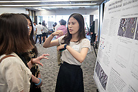 "Jiaqian Wu presents, ""Atomic Force Microscopy Studies of the Cell Surface Chemistry of the Bacterial Predator Bdellovibrio bacteriovorus""<br /> Mentor: Eileen Spain, Chemistry<br /> Occidental College's Undergraduate Research Center hosts their annual Summer Undergraduate Research Conference on July 31, 2019. Student researchers presented their work as either oral or poster presentations at this final conference. The program lasts 10 weeks and involves independent research in all departments.<br /> (Photo by Marc Campos, Occidental College Photographer)"