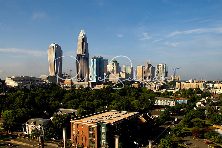 Wide angle view of the uptown skyline featuring four ward in Charlotte, N.C.