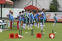 ATENCAO EDITOR: FOTO EMBARGADA PARA VEICULO INTERNACIONAL - SÃO PAULO, SP -  22 JANEIRO 2013 - TREINO PALMEIRAS - Jogadores do Palmeiras, durante treino para a partida contra o Oeste, válida pela segunda rodada do Campeonato Paulista 2013. Treino realizado na Academia de Futebol no bairro da Barra Funda, nesta terca-feira, 22. (FOTO: LEVY RIBEIRO / BRAZIL PHOTO PRESS)..