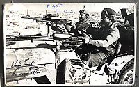 BNPS.co.uk (01202 558833)<br /> Pic: Bosleys/BNPS<br /> <br /> Trooper Casey's photo album - Rare picture of 1st SAS in their heavily armed jeeps in North Africa in January 1943.<br /> <br /> Sold for £25,000 - An extraordinary wartime archive that lift's the veil on the earliest days of the SAS during WW2.<br /> <br /> The late Fred Casey was among the original dozen members of the 1st Special Air Service that was formed in North Africa to wreak havoc behind enemy lines.<br /> <br /> The commando's military possessions included a remarkable album containing previously unseen images of the founding members of the elite force.<br /> <br /> Legendary Captain David Stirling, who formed the 'Who Dares Wins' regiment, and hand-picked the men under his command, is pictured along with his controversial deputy Paddy Mayne , who took over the top secret regiment after Stirling's capture.<br /> <br /> The album sold at Bosley's Auctioneers of Marlow, Bucks, last week for over five times its pre-sale estimate..
