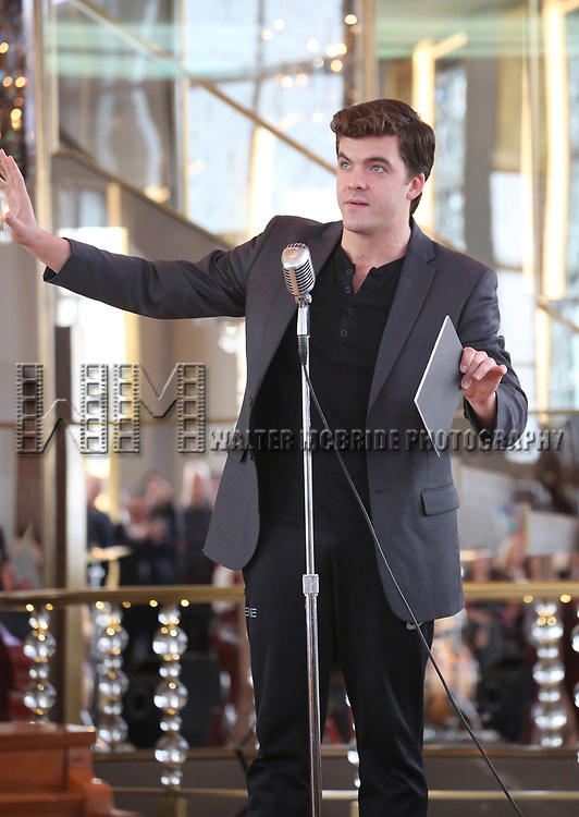 Jonathan Shew performs during the 'Bandstand' Broadway cast press presentation at the Rainbow Room on March 7, 2017 in New York City.