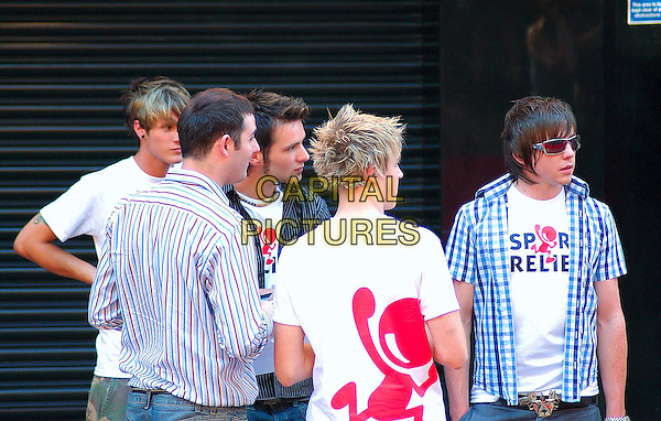 "McFLY.""Superman Returns"" UK film premiere, .Odeon Leicester Square, London, England, UK,.July 13th, 2006..half length sport relief t-shirts.Ref: HAR.www.capitalpictures.com.sales@capitalpictures.com.©Sean Harrison/Capital Pictures."